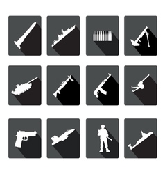 Icons set of black and white silhouettes of armed vector