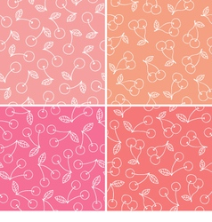 Set of cherry seamless pattern vector