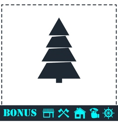 Fir tree icon flat vector