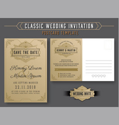 Vintage elegant wedding invitation template vector