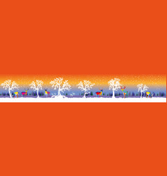 long winter forest with deers and vector image