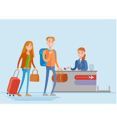 young people are check in at the airport vector image