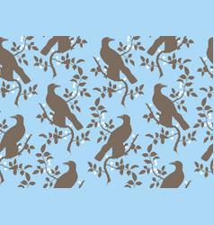 Bird on branch seamless pattern vector