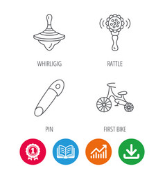 first bike whirligig and rattle toy icons vector image