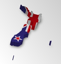 Three dimensional map of new zealand in flag color vector