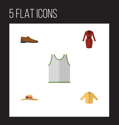 flat dress set of clothes male footware elegant vector image