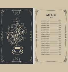 Menu for cafe with price list and coffee cup vector