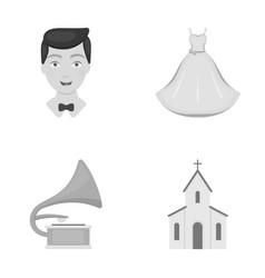 Wedding dress groom gramophone church wedding vector