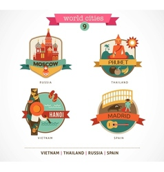 World Cities labels - Moscow Phuket Madrid Hanoi vector image
