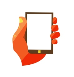 Hand holding touchscreen mobile phone vector