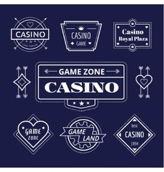 Casino logo icons set poker cards or game vector