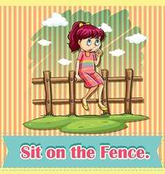 Sit on the fence vector