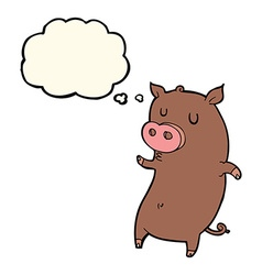 Funny cartoon pig with thought bubble vector