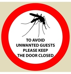 Sticker with warning sign insect icon mosquito vector