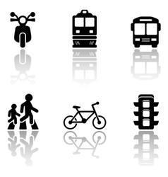 Road symbols set with reflection vector