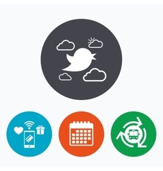 Bird sign icon social media symbol vector