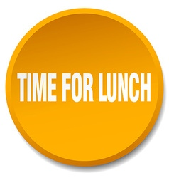 Time for lunch orange round flat isolated push vector