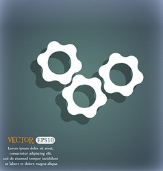 Gears icon on the blue-green abstract background vector