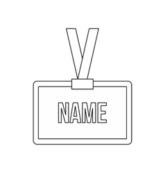 Plastic name badge with neck strap icon vector