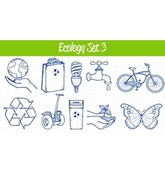 Ecology icons set hand drawn vector