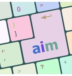 Aim word with key on enter keyboard vector