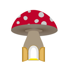 amanita home fabulous open door to mushroom vector image