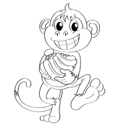 Animal outline for monkey and bananas vector
