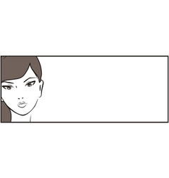 Banner with young girl and white place for text vector