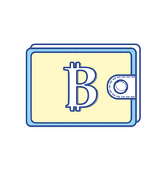 bitcoin symbon in the wallet to save money vector image vector image