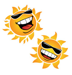 bright smiling happy sun cartoon vector image