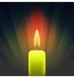 Burning single yellow candle vector