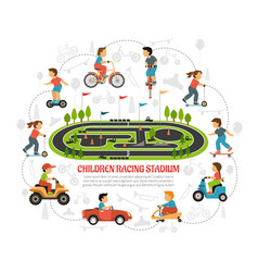 children racing stadium composition vector image
