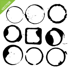 circles grunge of coffee cup vector image vector image