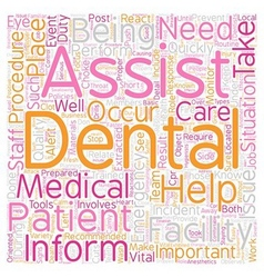 Dental assistant emergency care text background vector