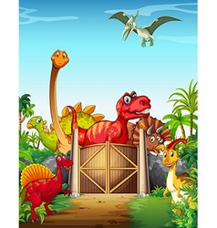 Dinosaurs in a dino park vector image vector image