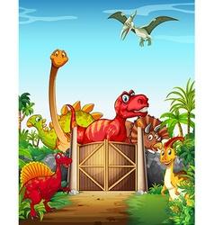 Dinosaurs in a dino park vector