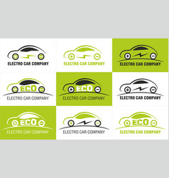 Eco electric car company logos vector