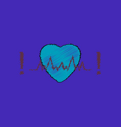 flat shading style icon heart with cardio vector image vector image