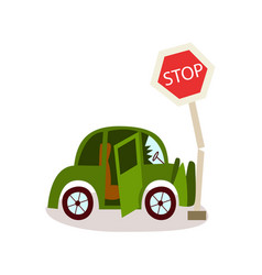 flat vehicle crashed into stop road sign vector image vector image