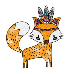 Grated cute fox animal with feathers design vector