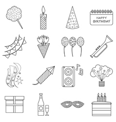 Happy birthday icons set outline style vector