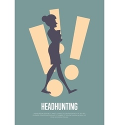 Headhunting banner with woman silhouette vector