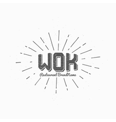 Hipster style wok logo template and sunburst vector