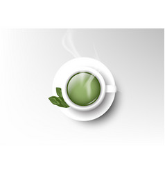 Isolated cup of coffee collection green tea vector
