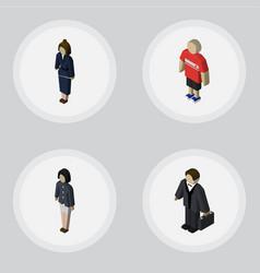 isometric human set of guy businesswoman girl vector image vector image