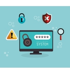 Laptop technology security system data vector