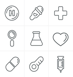 Line icons style medical icons set design vector