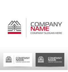 Logo design with mountains and forest vector