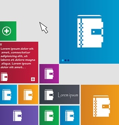 Notebook icon sign buttons modern interface vector