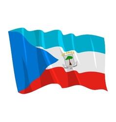 Political waving flag of equatorial guinea vector